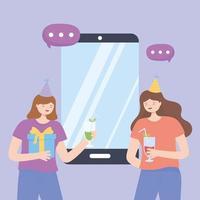 conceito de festa online com meninas festejando vetor