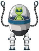 alienígena no robô em fundo branco