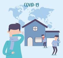 pessoas com banner de sintomas covid-19 vetor