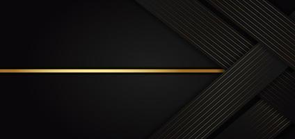 modelo abstrato com elementos pretos e dourados vetor