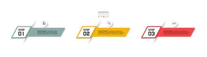 3 etapas de rótulos numerados vetor