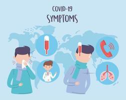 paciente com banner de sintomas covid-19 vetor