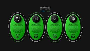 conjunto de ícones de apresentação oval verde e preto brilhante vetor