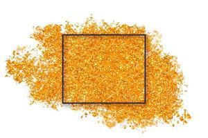 respingo de glitter dourado com quadrado vetor