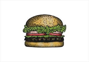 desenho de hambúrguer rústico desenhado à mão vetor
