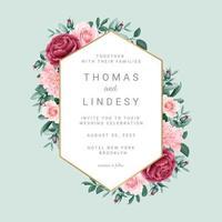 convite de casamento com moldura geométrica floral vetor