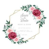 moldura floral salvar o modelo de convite de data vetor