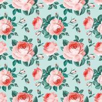 rosas inglesas vintage padrão sem emenda vetor
