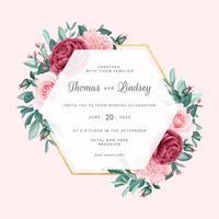 moldura de casamento floral rosa geométrica vetor