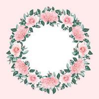 moldura redonda de rosa floral grinalda vetor
