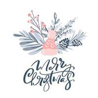 design de cartão de feliz natal com elementos florais vetor