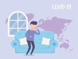 homem com sintomas covid-19