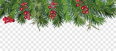 guirlanda de árvore de natal e moldura superior de bagas vetor