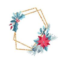 moldura geométrica de polígono com coroa de flores vetor
