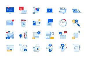 comunicação online, comércio eletrônico, ícones modernos de publicidade