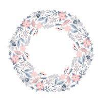 guirlanda de natal com flores rosa vetor