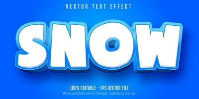 efeito de texto editável de estilo cartoon de neve branca e azul vetor