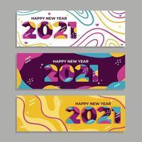 banners coloridos de feliz ano novo 2021 vetor