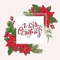 cartão de feliz natal com decoração floral de poinsétia