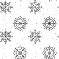 padrão de natal de floco de neve de inverno monoline vetor