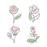 conjunto de flores rosas desenhadas à mão em linha contínua vetor