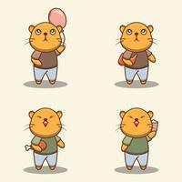 conjunto de personagens fofinhos de gatos