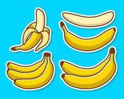 conjunto de bananas amarelas de desenho animado