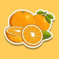 conjunto de frutas frescas de laranja de desenho animado