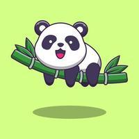 panda fofo dormindo em bambu vetor