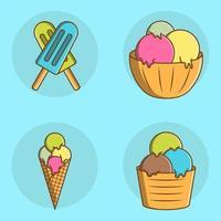 conjunto de sorvete fofo de desenho animado vetor