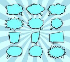 coleção de balões de fala em quadrinhos pop art