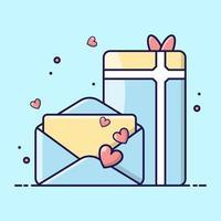 carta de amor e um presente de ícones de desenho animado