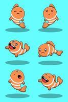 conjunto de peixe palhaço bonito dos desenhos animados vetor