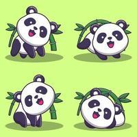 conjunto de ursinhos panda fofos com bambu vetor
