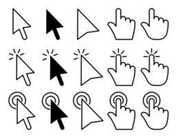 conjunto de ícones de ponteiro, cursor e mouse vetor