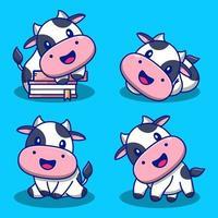 conjunto de vacas fofas de desenho animado vetor
