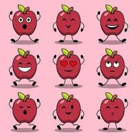 conjunto de poses de desenhos animados bonitos de personagens de maçã vetor