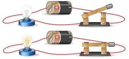 circuito elétrico com bateria e lâmpada vetor