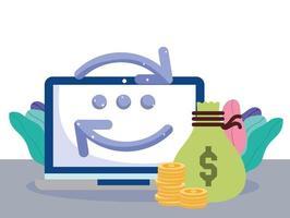 composição de transferência de dinheiro online vetor