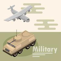 composição isométrica de aviões militares e tanques