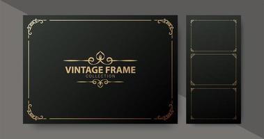 coleção de molduras ornamentais vintage de luxo vetor