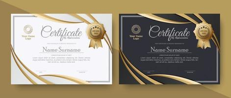 conjunto de prêmios de certificado elegante vetor