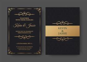 modelo de cartão de convite preto e dourado vetor