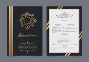 menu de restaurante luxuoso com logotipo enfeitado vetor