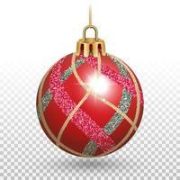 enfeite de bola de natal vermelha brilhante com listras brilhantes