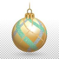 enfeite de bola de natal dourada brilhante com listras brilhantes