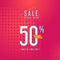 oferta especial de venda banner rosa para promoção vetor