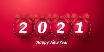 feliz ano novo 2021 design vermelho