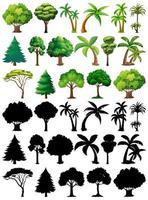 conjunto de plantas e árvores com silhuetas vetor