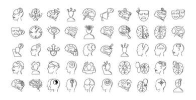 Conjunto de ícones de sintomas de doença de Alzheimer e demência